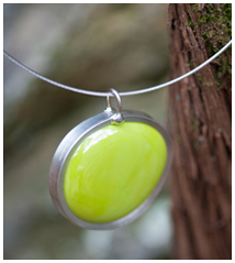 green glass pendant by swanson glass